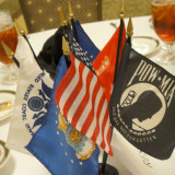 Rotary Club, US and military flags