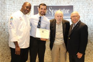 from left to right: Park Springs' Executive Chef Derrick Henry, Juan Diaz, 2016 Scholarship recipient, Marvin Himmel, Rocco DiAngelo, Associate Dean, Alumni Services, Florida International University, Florida International University
